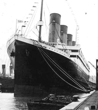 The Titanic docked in Southampton, England.